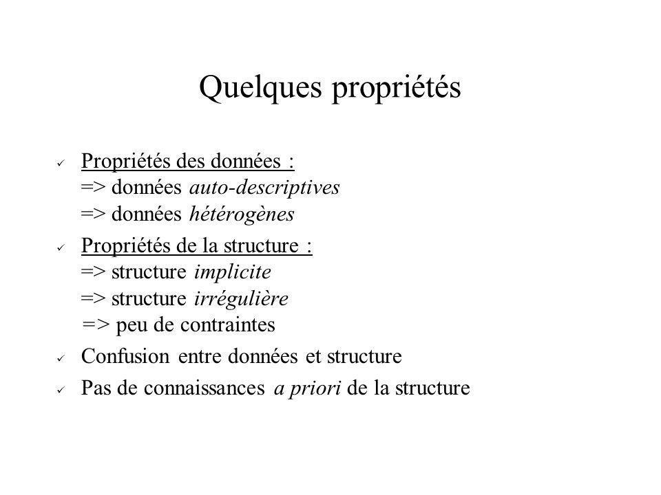Quelques propriétés Propriétés des données : => données auto-descriptives => données hétérogènes Propriétés de la structure : => structure implicite =