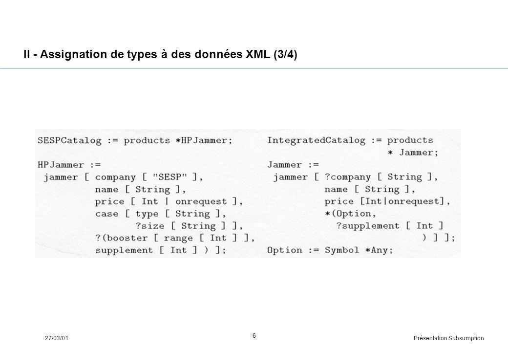 Présentation Subsumption27/03/01 6 II - Assignation de types à des données XML (3/4)