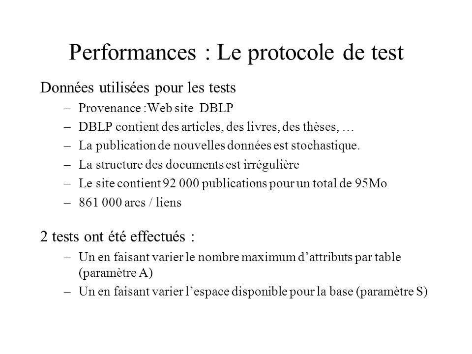 Performances : Le protocole de test Données utilisées pour les tests –Provenance :Web site DBLP –DBLP contient des articles, des livres, des thèses, … –La publication de nouvelles données est stochastique.