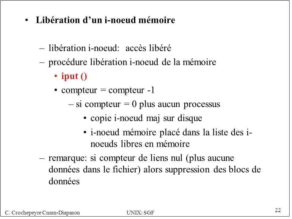 C. Crochepeyre Cnam-DiapasonUNIX: SGF 22 Libération dun i-noeud mémoire –libération i-noeud: accès libéré –procédure libération i-noeud de la mémoire