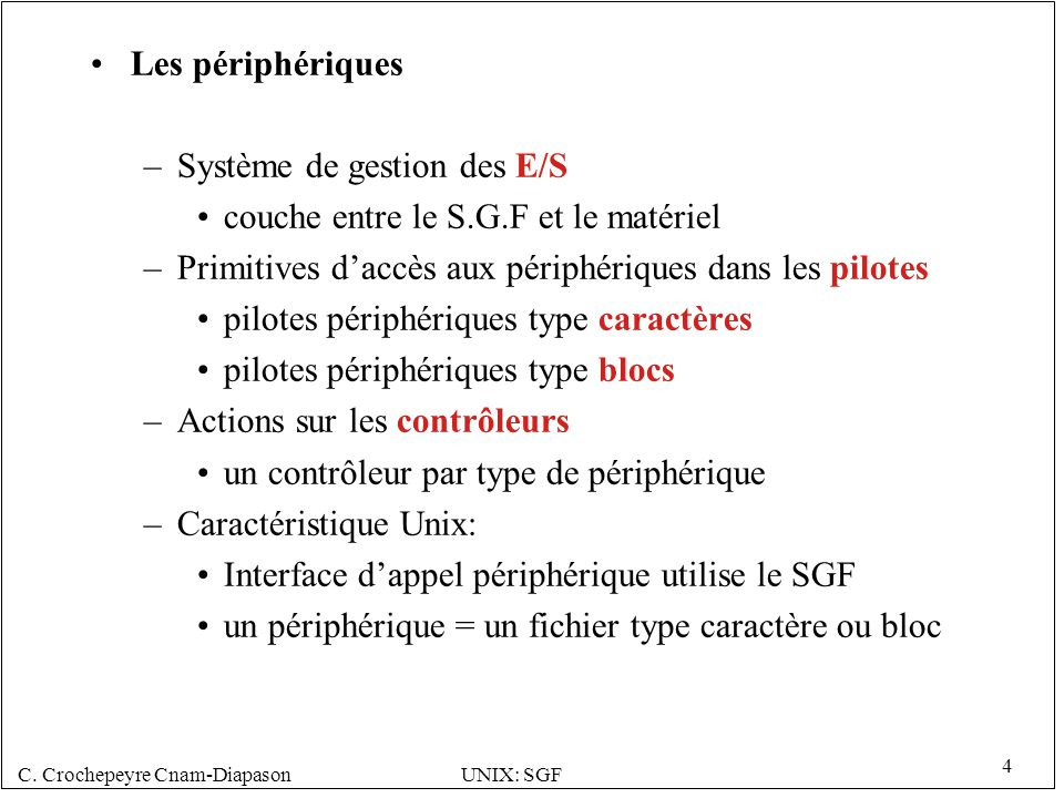 C. Crochepeyre Cnam-DiapasonUNIX: SGF 4 Les périphériques –Système de gestion des E/S couche entre le S.G.F et le matériel –Primitives daccès aux péri