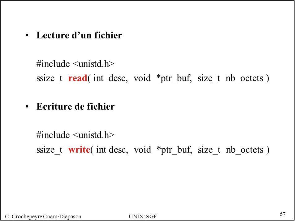 C. Crochepeyre Cnam-DiapasonUNIX: SGF 67 Lecture dun fichier #include ssize_t read( int desc, void *ptr_buf, size_t nb_octets ) Ecriture de fichier #i