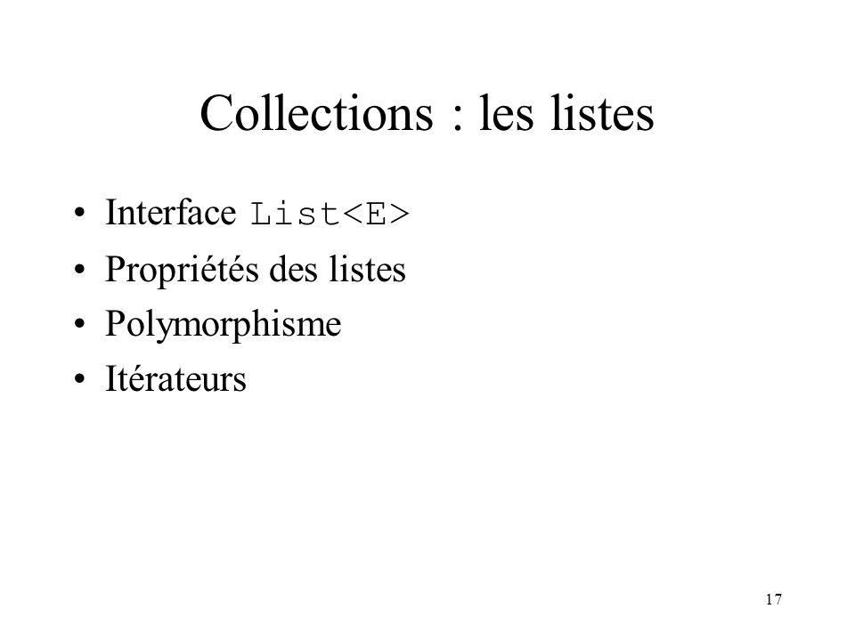 17 Collections : les listes Interface List Propriétés des listes Polymorphisme Itérateurs