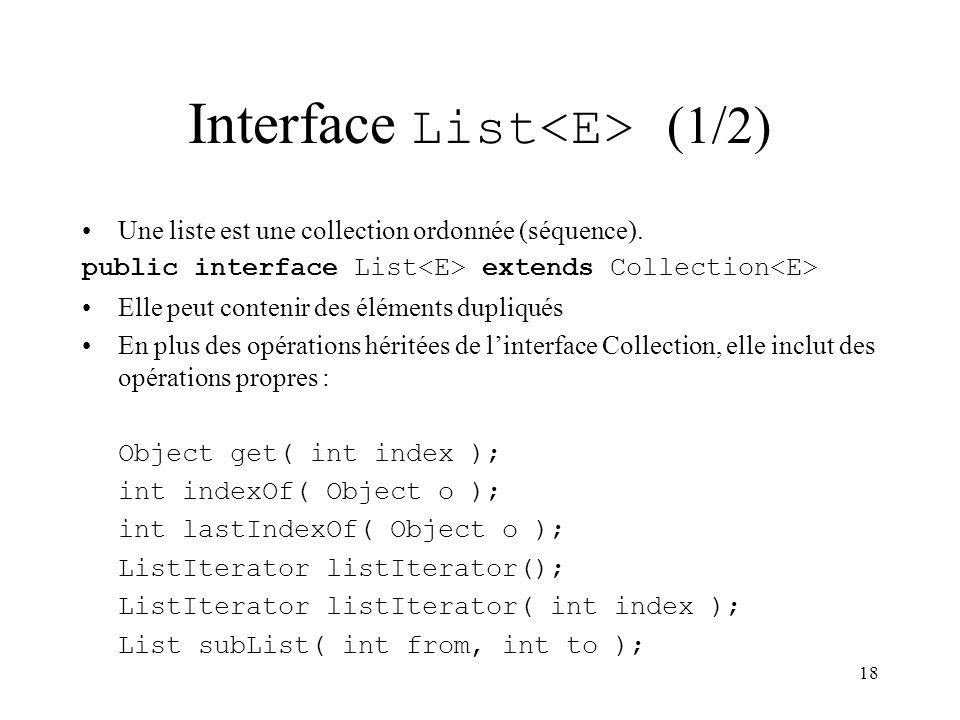 18 Interface List (1/2) Une liste est une collection ordonnée (séquence). public interface List extends Collection Elle peut contenir des éléments dup