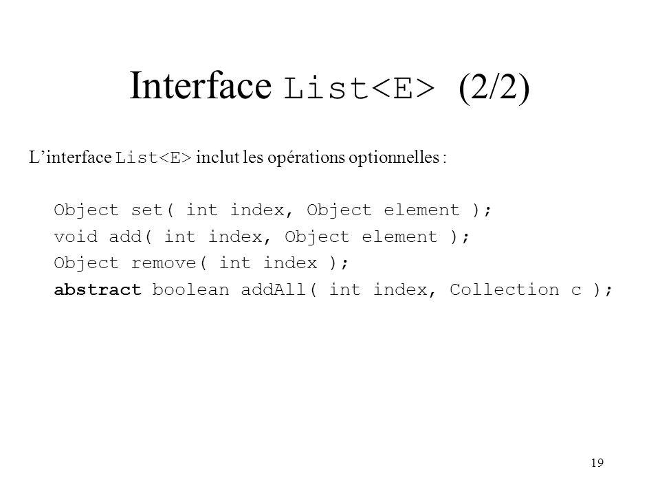 19 Interface List (2/2) Linterface List inclut les opérations optionnelles : Object set( int index, Object element ); void add( int index, Object elem