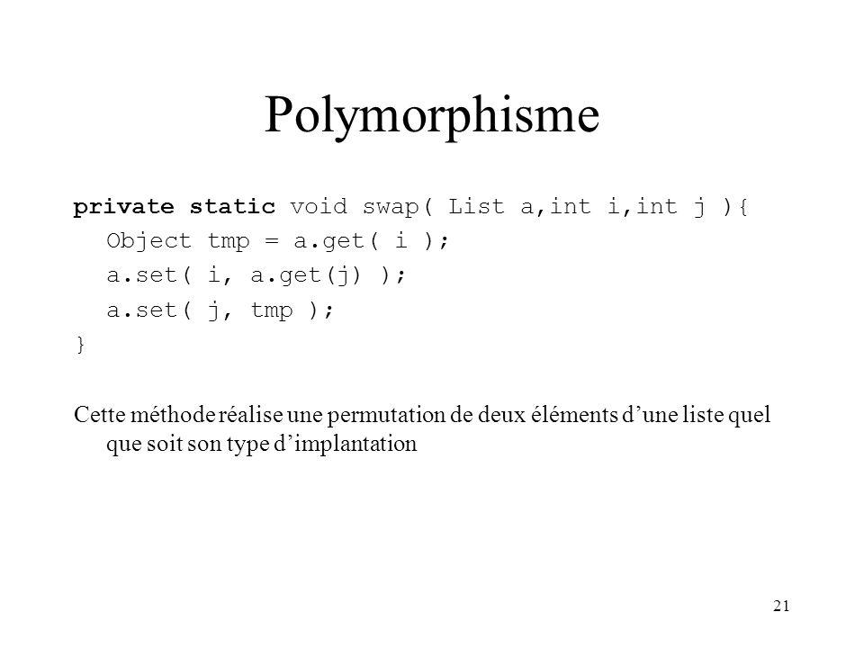 21 Polymorphisme private static void swap( List a,int i,int j ){ Object tmp = a.get( i ); a.set( i, a.get(j) ); a.set( j, tmp ); } Cette méthode réali