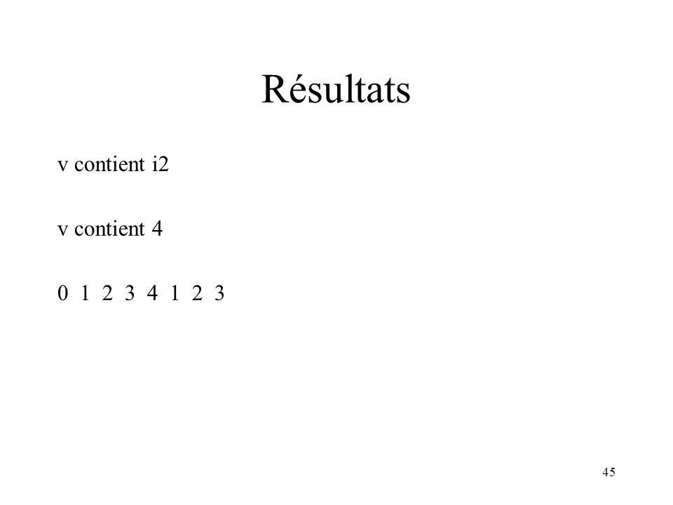 45 Résultats v contient i2 v contient 4 0 1 2 3 4 1 2 3