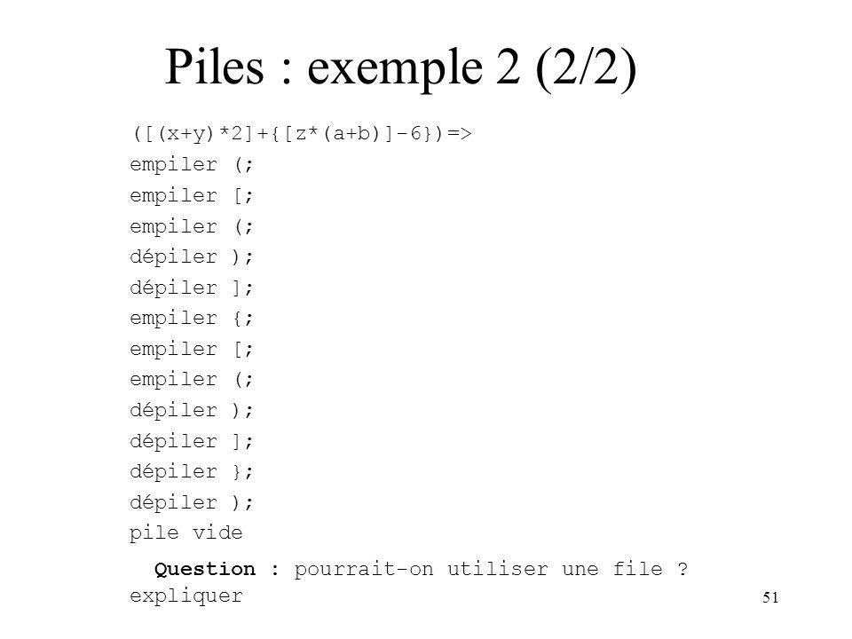 51 ([(x+y)*2]+{[z*(a+b)]-6})=> empiler (; empiler [; empiler (; dépiler ); dépiler ]; empiler {; empiler [; empiler (; dépiler ); dépiler ]; dépiler }