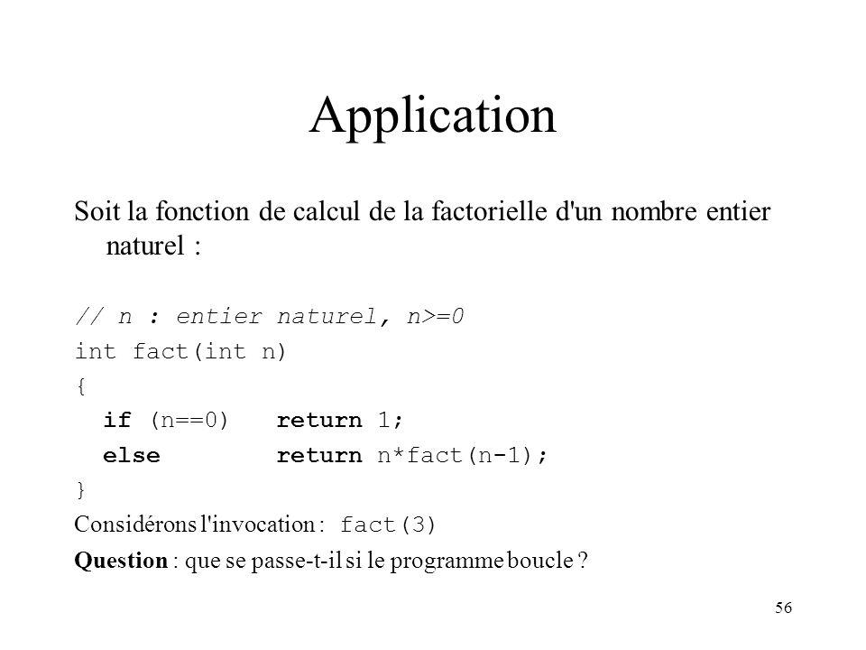 56 Application Soit la fonction de calcul de la factorielle d'un nombre entier naturel : // n : entier naturel, n>=0 int fact(int n) { if (n==0) retur