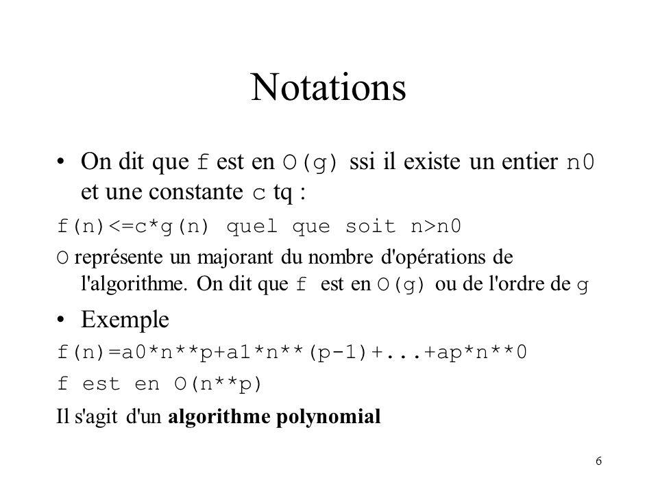 6 Notations On dit que f est en O(g) ssi il existe un entier n0 et une constante c tq : f(n) n0 O représente un majorant du nombre d'opérations de l'a