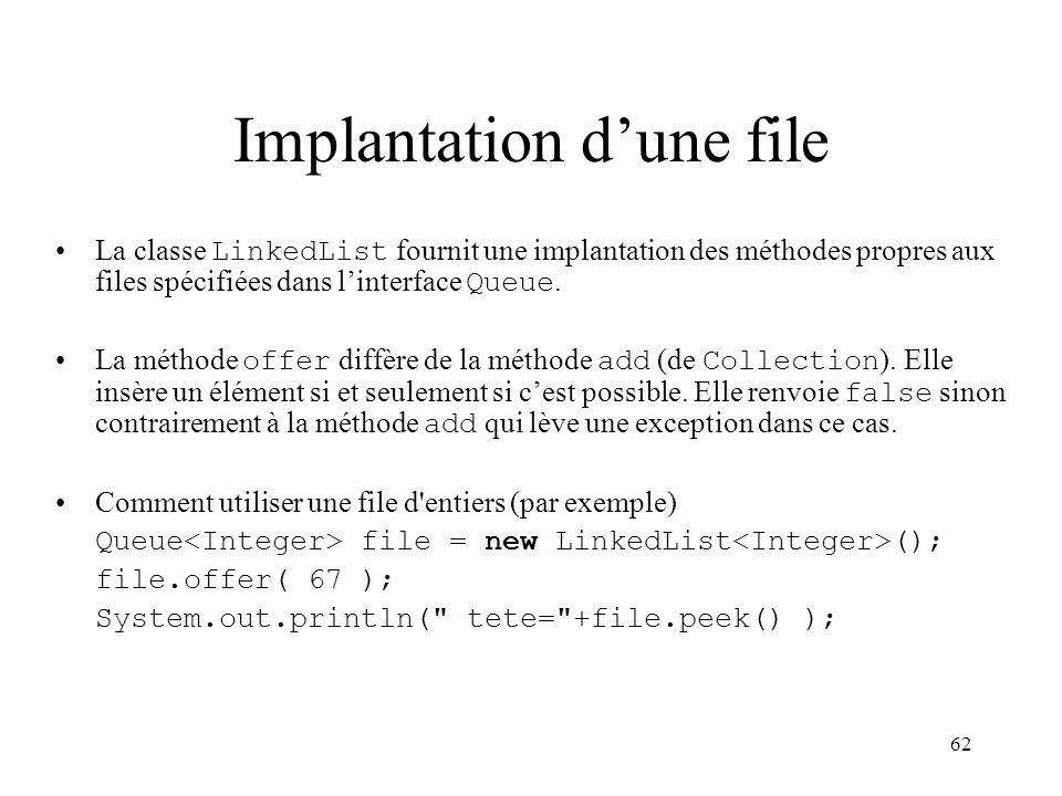 62 Implantation dune file La classe LinkedList fournit une implantation des méthodes propres aux files spécifiées dans linterface Queue. La méthode of