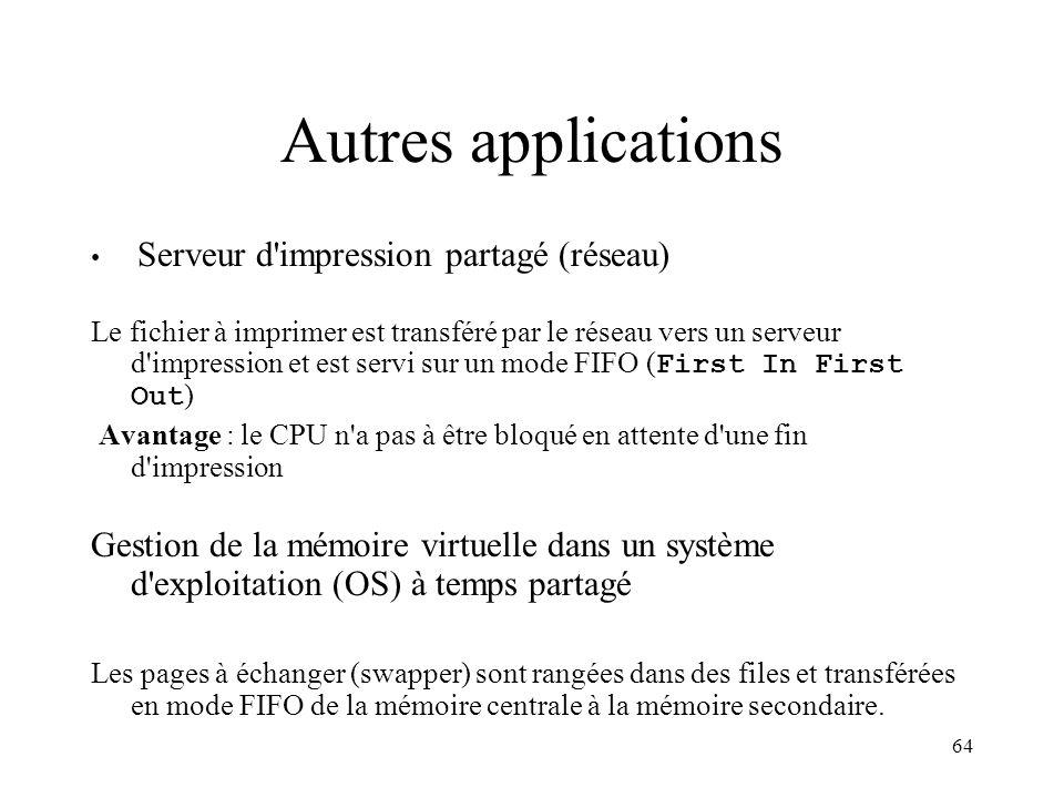 64 Autres applications Serveur d'impression partagé (réseau) Le fichier à imprimer est transféré par le réseau vers un serveur d'impression et est ser
