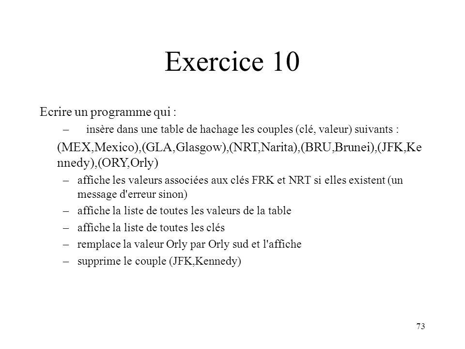 73 Exercice 10 Ecrire un programme qui : –insère dans une table de hachage les couples (clé, valeur) suivants : (MEX,Mexico),(GLA,Glasgow),(NRT,Narita