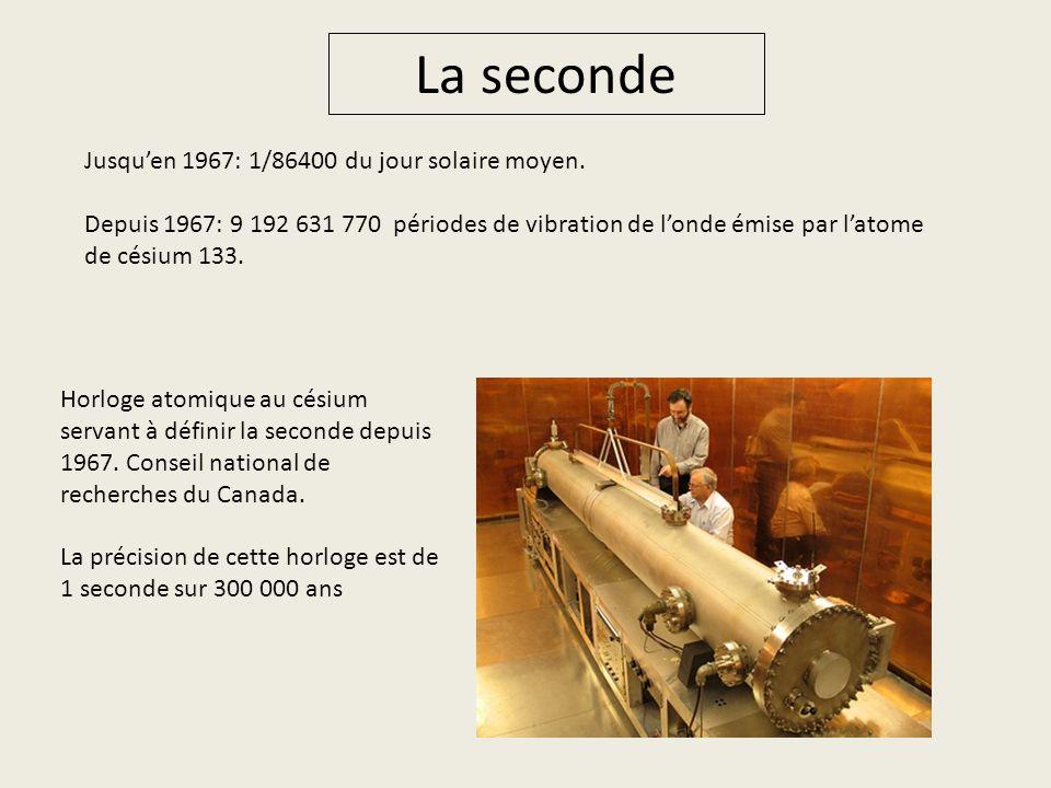 La seconde Jusquen 1967: 1/86400 du jour solaire moyen. Depuis 1967: 9 192 631 770 périodes de vibration de londe émise par latome de césium 133. Horl