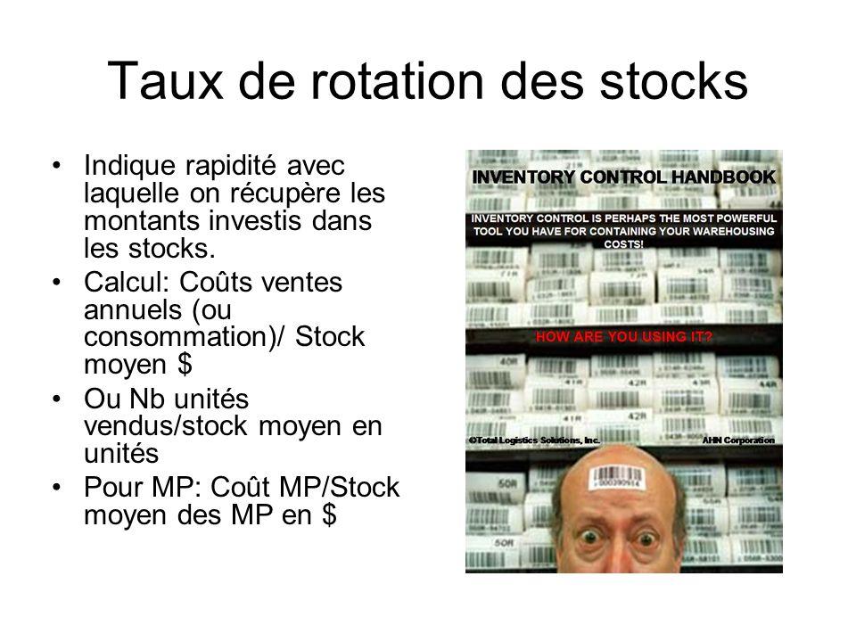 Taux de rotation des stocks Indique rapidité avec laquelle on récupère les montants investis dans les stocks. Calcul: Coûts ventes annuels (ou consomm