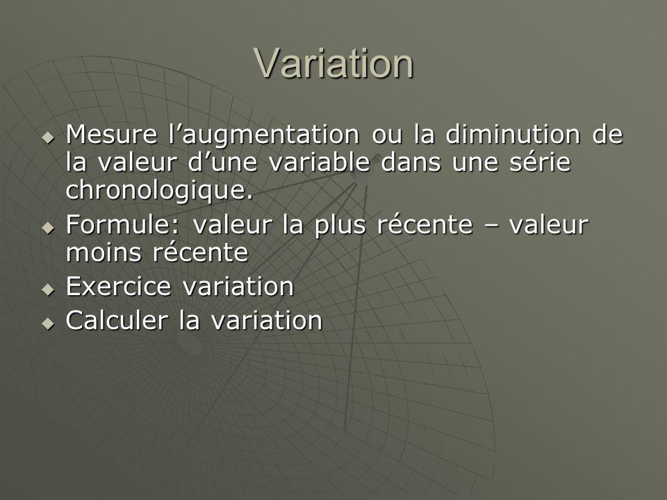 Variation Mesure laugmentation ou la diminution de la valeur dune variable dans une série chronologique.