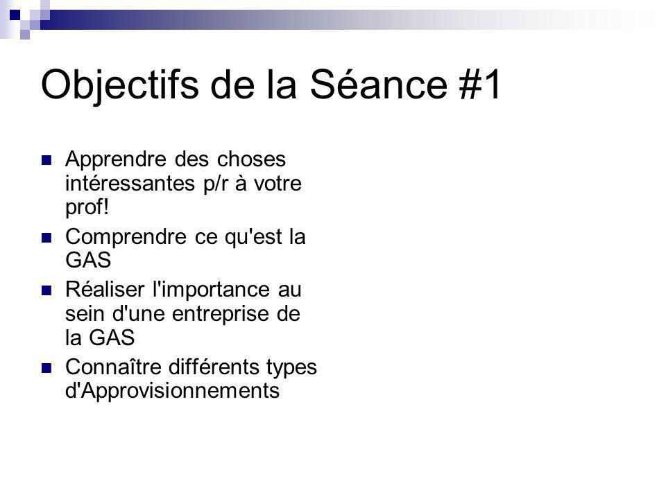 Objectifs de la Séance #1 Apprendre des choses intéressantes p/r à votre prof! Comprendre ce qu'est la GAS Réaliser l'importance au sein d'une entrepr