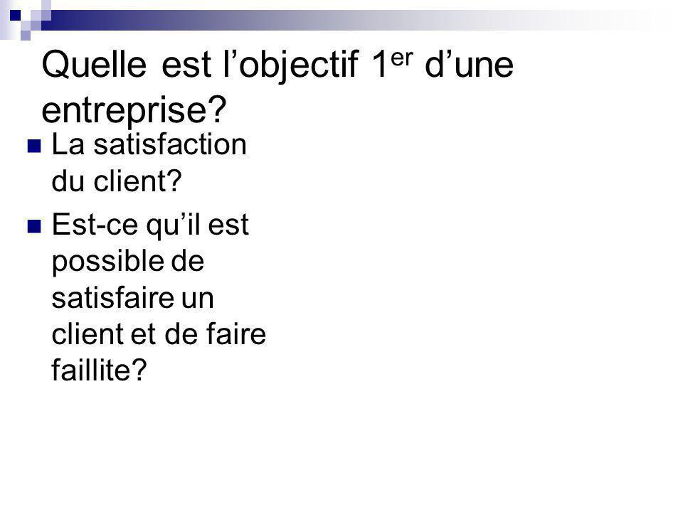 Quelle est lobjectif 1 er dune entreprise? La satisfaction du client? Est-ce quil est possible de satisfaire un client et de faire faillite?