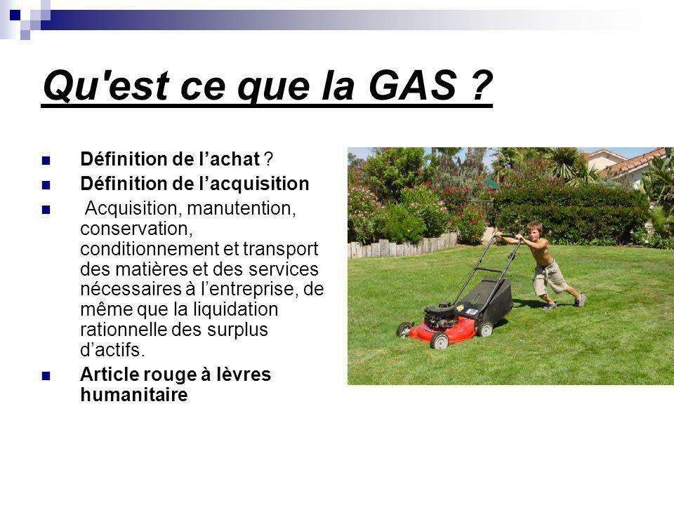 Qu'est ce que la GAS ? Définition de lachat ? Définition de lacquisition Acquisition, manutention, conservation, conditionnement et transport des mati