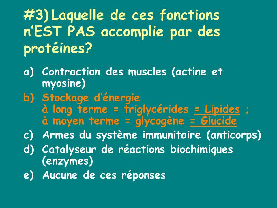 #3)Laquelle de ces fonctions nEST PAS accomplie par des protéines.
