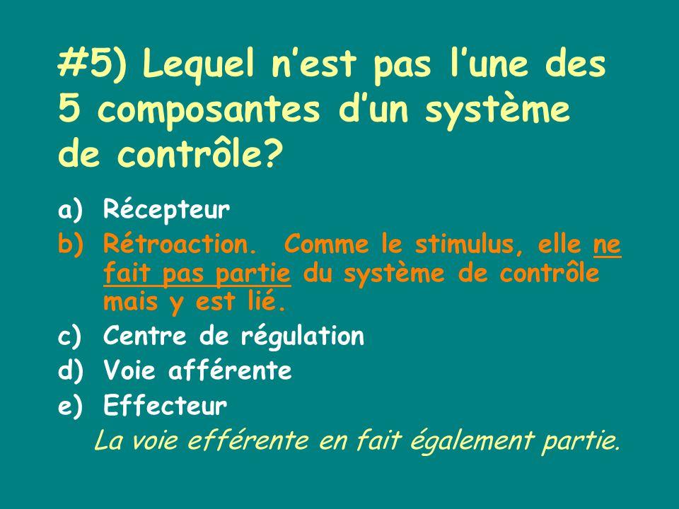 #5) Lequel nest pas lune des 5 composantes dun système de contrôle.