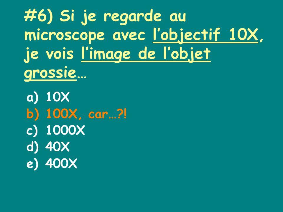 #6) Si je regarde au microscope avec lobjectif 10X, je vois limage de lobjet grossie… a)10X b)100X, car… .