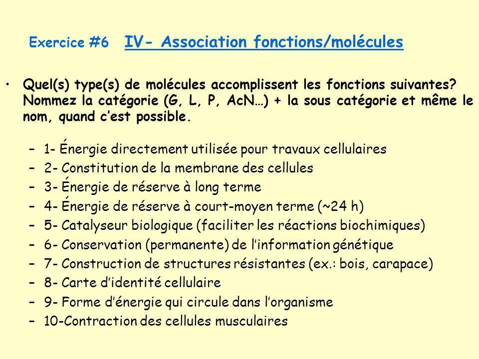 Quel(s) type(s) de molécules accomplissent les fonctions suivantes? Nommez la catégorie (G, L, P, AcN…) + la sous catégorie et même le nom, quand cest