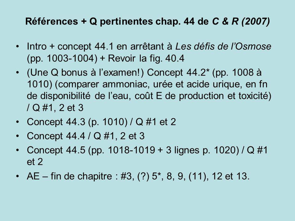 Références + Q pertinentes chap. 44 de C & R (2007) Intro + concept 44.1 en arrêtant à Les défis de lOsmose (pp. 1003-1004) + Revoir la fig. 40.4 (Une