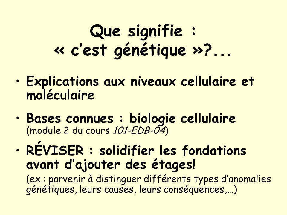 Que signifie : « cest génétique »?...