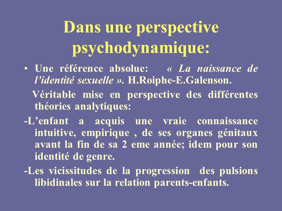 Dans une perspective psychodynamique: Une référence absolue: « La naissance de lidentité sexuelle ».