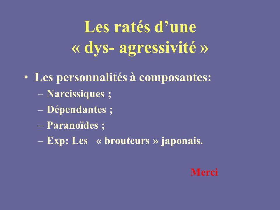 Les ratés dune « dys- agressivité » Les personnalités à composantes: –Narcissiques ; –Dépendantes ; –Paranoïdes ; –Exp: Les « brouteurs » japonais.