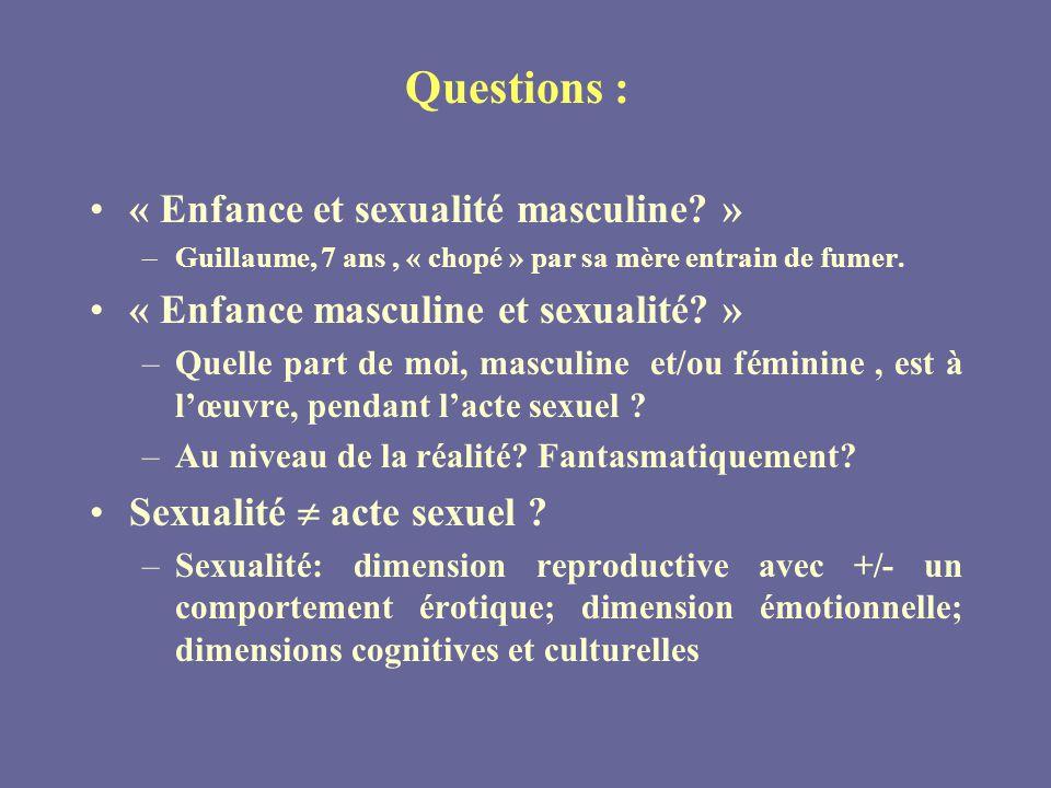 Questions : « Enfance et sexualité masculine.