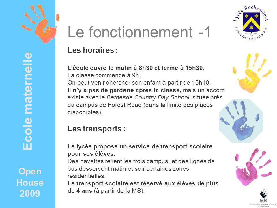 Open House 2009 Ecole maternelle Le fonctionnement -1 Les horaires : Lécole ouvre le matin à 8h30 et ferme à 15h30.