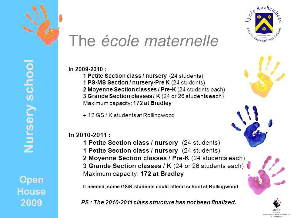 The école maternelle In 2009-2010 : 1 Petite Section class / nursery (24 students) 1 PS-MS Section / nursery-Pre K (24 students) 2 Moyenne Section cla