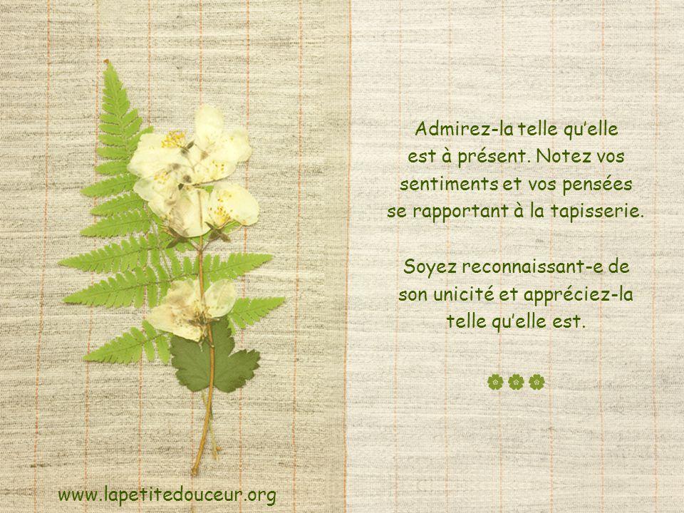 Fermez les yeux et imaginez-vous, telle une tapisserie rare et sans prix, fabriquée entièrement de fibres naturelles. www.lapetitedouceur.org