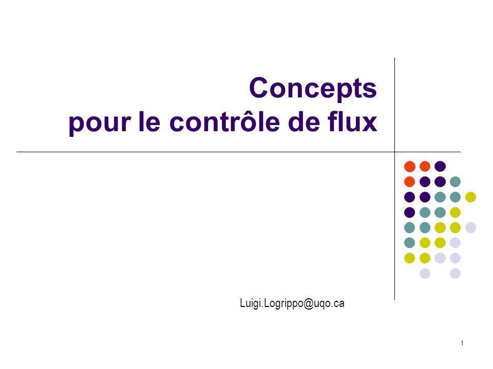 Concepts pour le contrôle de flux 1 Luigi.Logrippo@uqo.ca