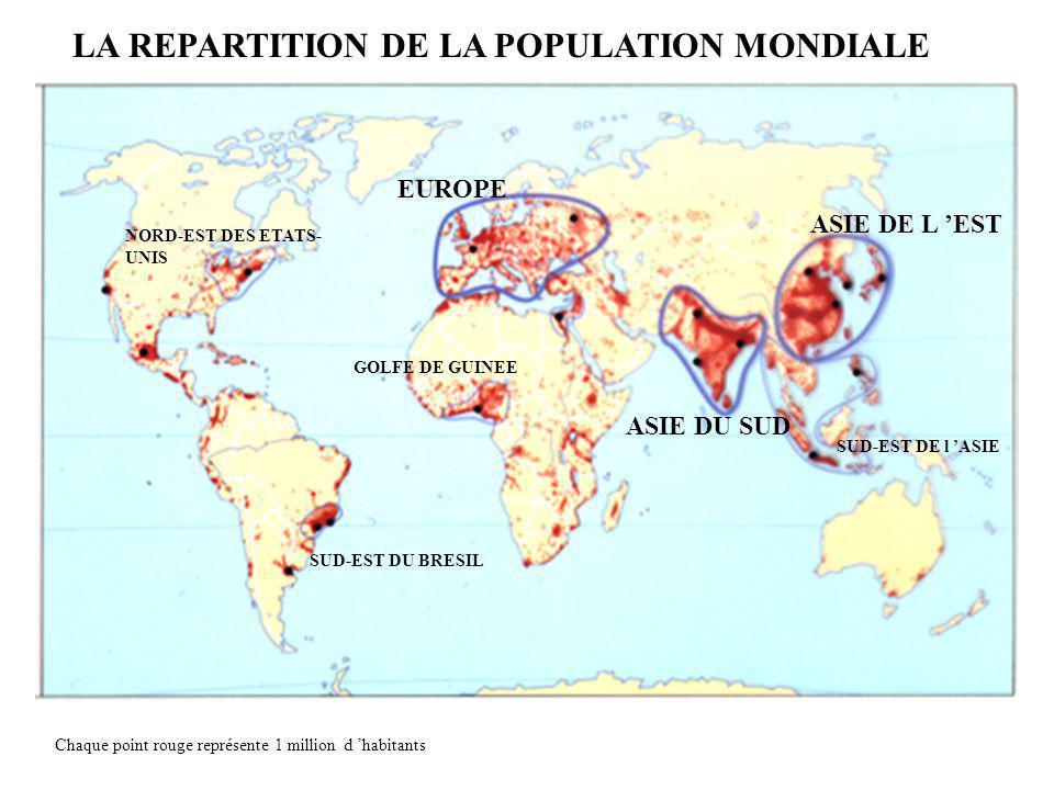 ASIE DE L EST ASIE DU SUD EUROPE NORD-EST DES ETATS- UNIS SUD-EST DU BRESIL GOLFE DE GUINEE SUD-EST DE l ASIE LA REPARTITION DE LA POPULATION MONDIALE Chaque point rouge représente 1 million d habitants