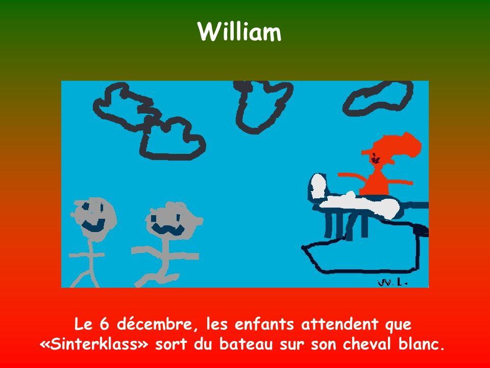 William Le 6 décembre, les enfants attendent que «Sinterklass» sort du bateau sur son cheval blanc.
