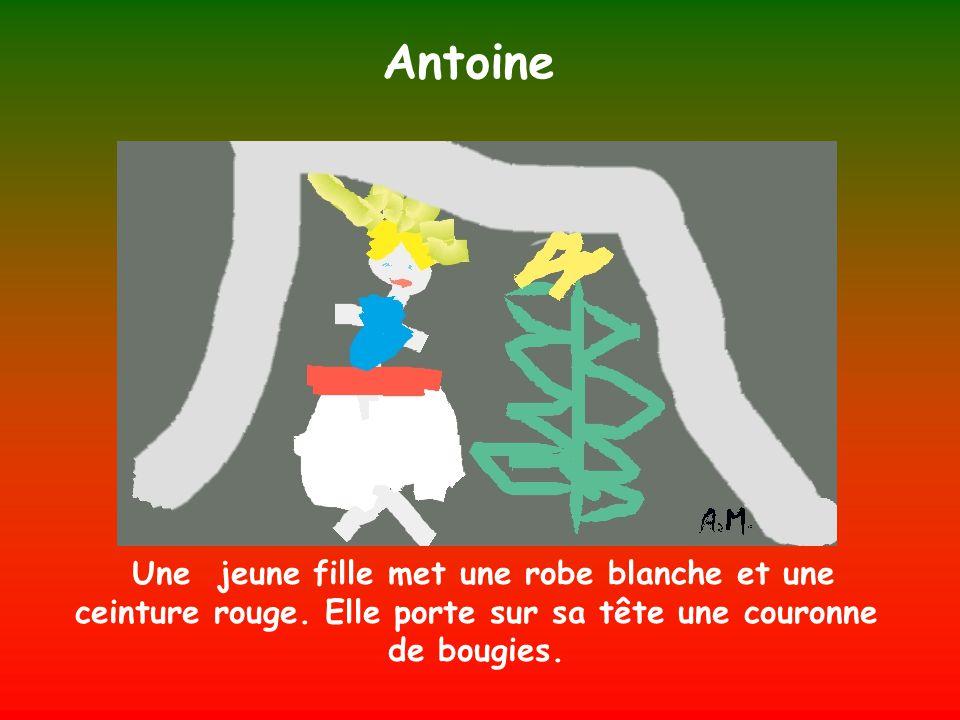 Antoine Une jeune fille met une robe blanche et une ceinture rouge.