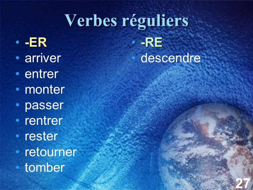 27 Verbes réguliers -ER-ER arriver entrer monter passer rentrer rester retourner tomber -RE-RE descendre