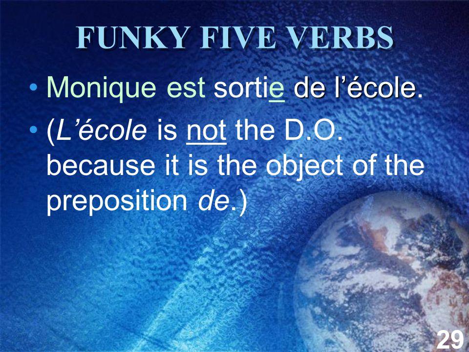 29 FUNKY FIVE VERBS de lécoleMonique est sortie de lécole.