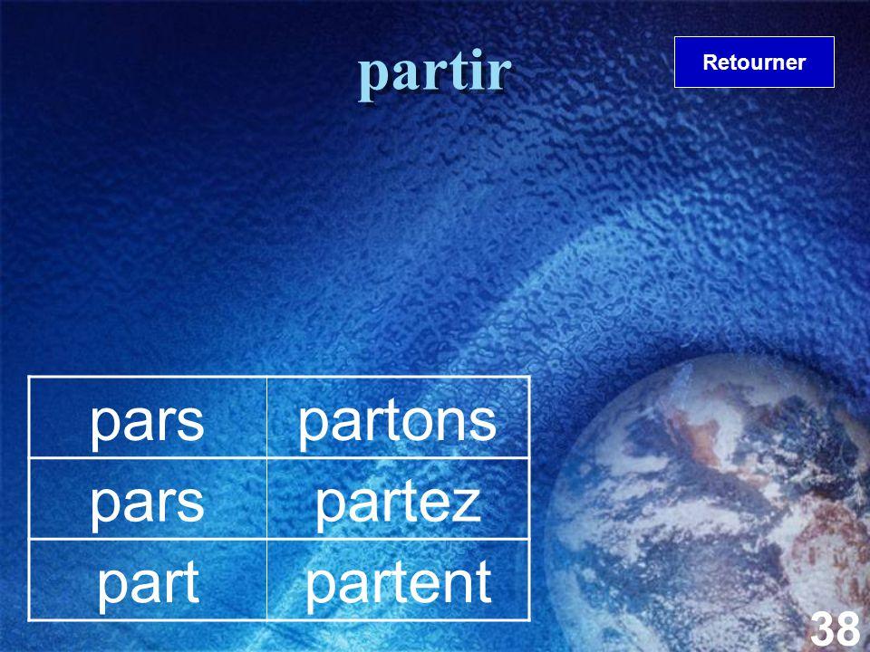 38 partir parspartons parspartez partpartent Retourner