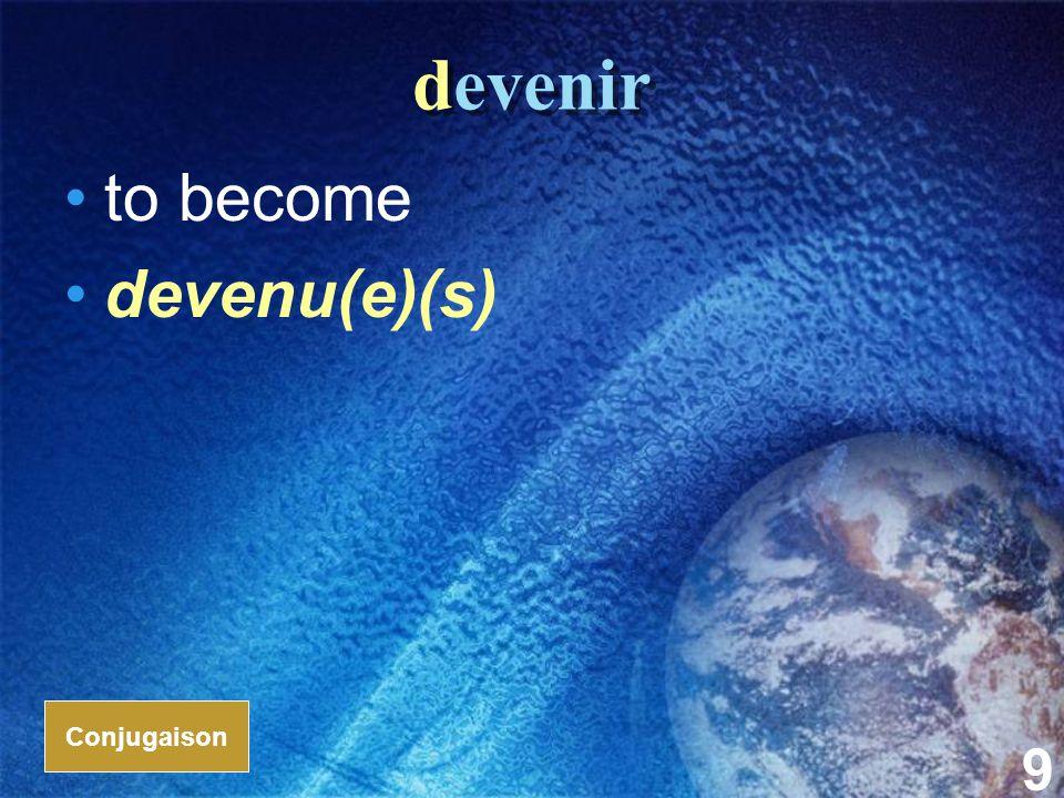10 revenir to return; to come back revenu(e)(s) Conjugaison