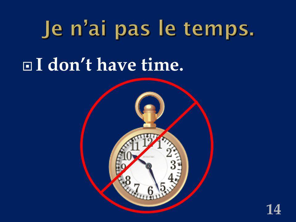 14 Je nai pas le temps. I dont have time.