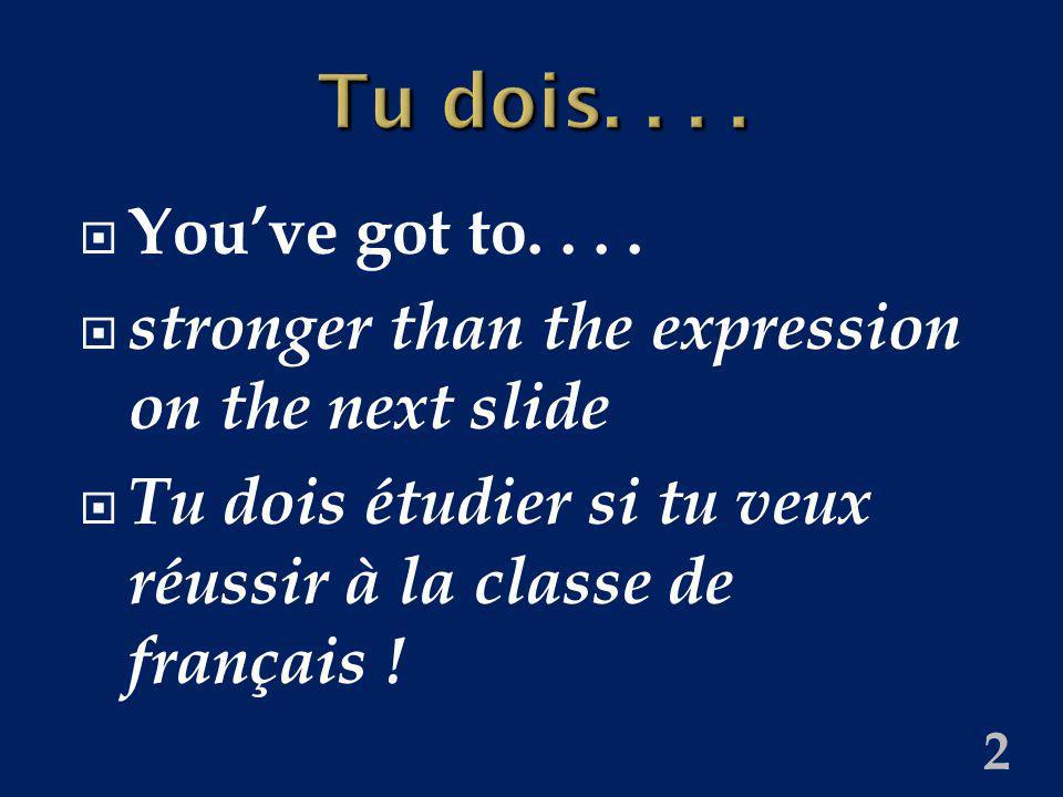 2 Tu dois.... Youve got to.... stronger than the expression on the next slide Tu dois étudier si tu veux réussir à la classe de français !