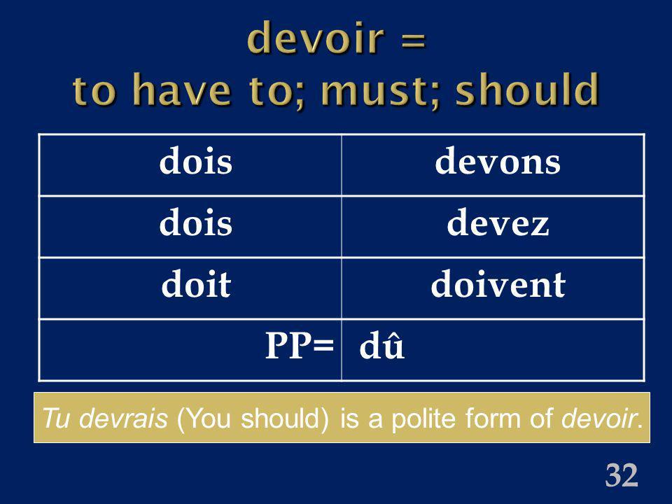 32 devoir = to have to; must; should doisdevons doisdevez doitdoivent PP=dû Tu devrais (You should) is a polite form of devoir.