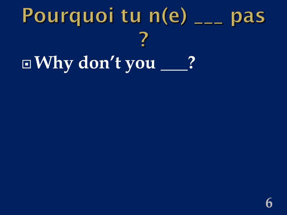 6 Pourquoi tu n(e) ___ pas ? Why dont you ___?
