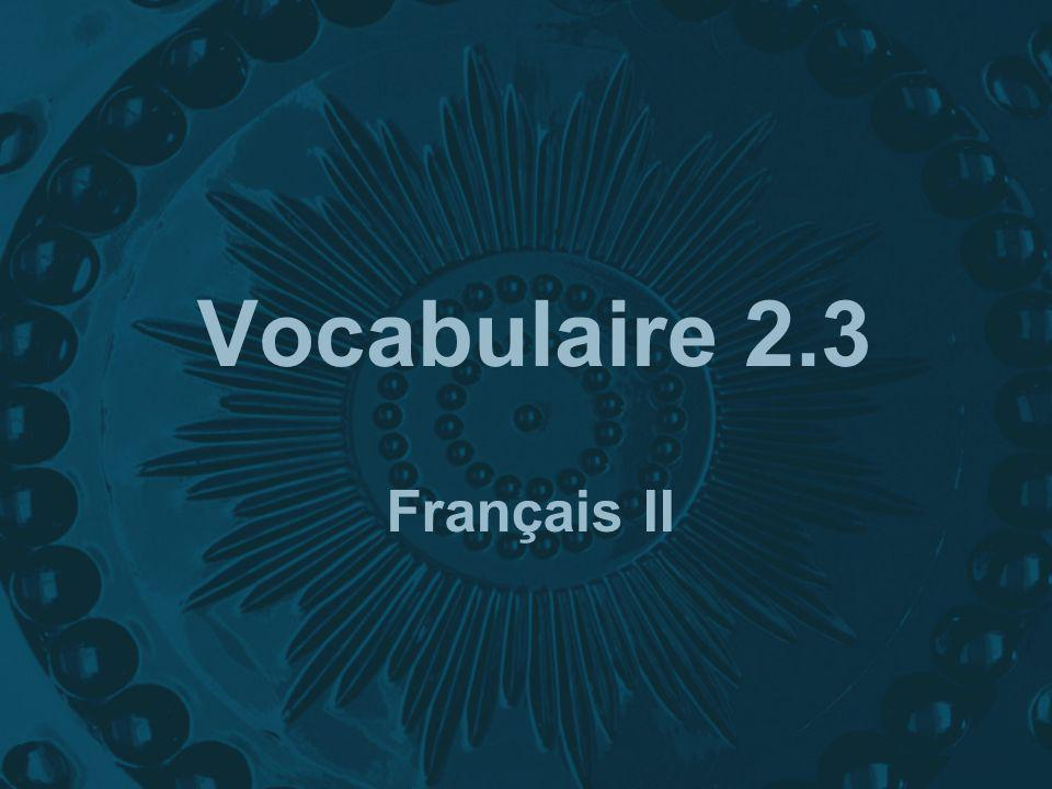 Vocabulaire 2.3 Français II