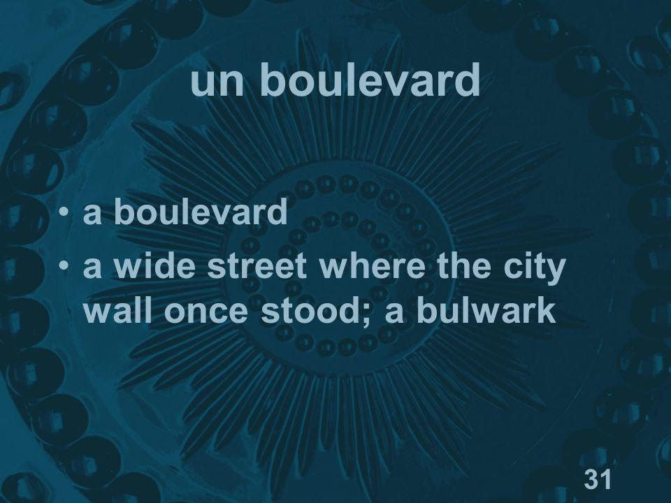 31 un boulevard a boulevard a wide street where the city wall once stood; a bulwark