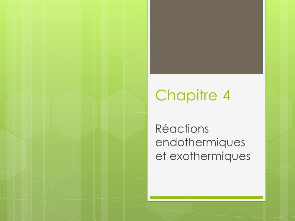 Chapitre 4 Réactions endothermiques et exothermiques